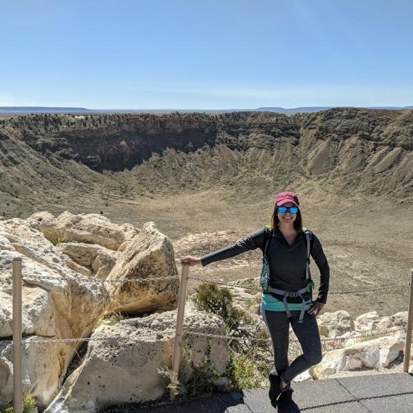 Amanda Alexander in front of Meteor Crater