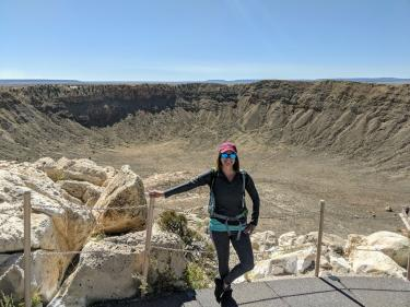 Amanda Alexander in front of Meteor Crater