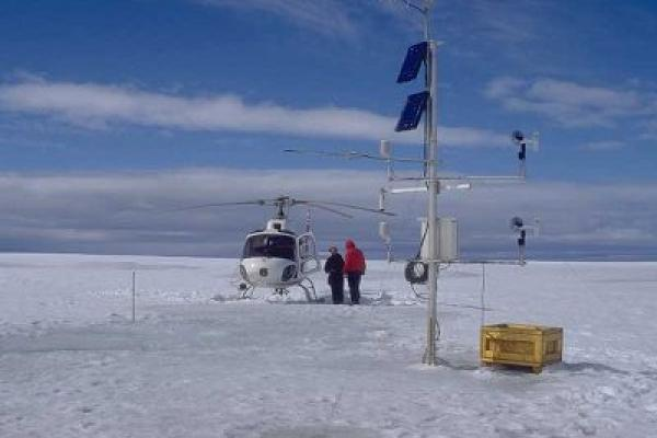Helicopter at arctic research station