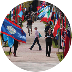 International flags on display during CU Boulder's Conference on World Affairs