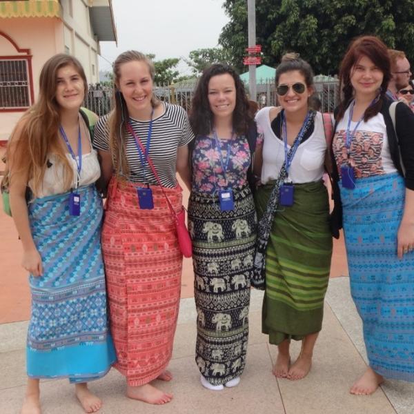 Portrait of participants in Thailand touring temple