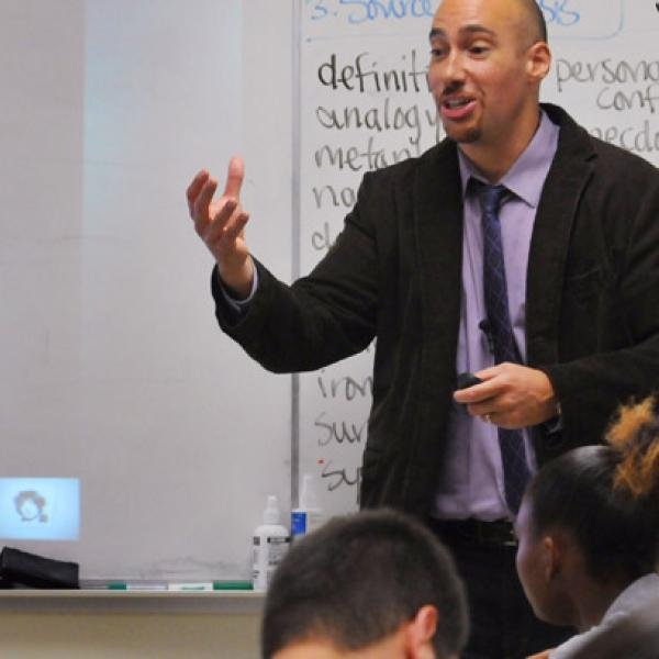 English teacher in a classroom of students