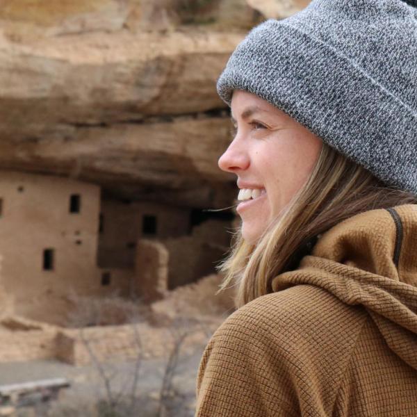 Woman at an ancient ruin