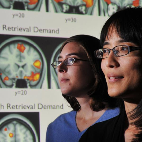 People with a brain scan in the background