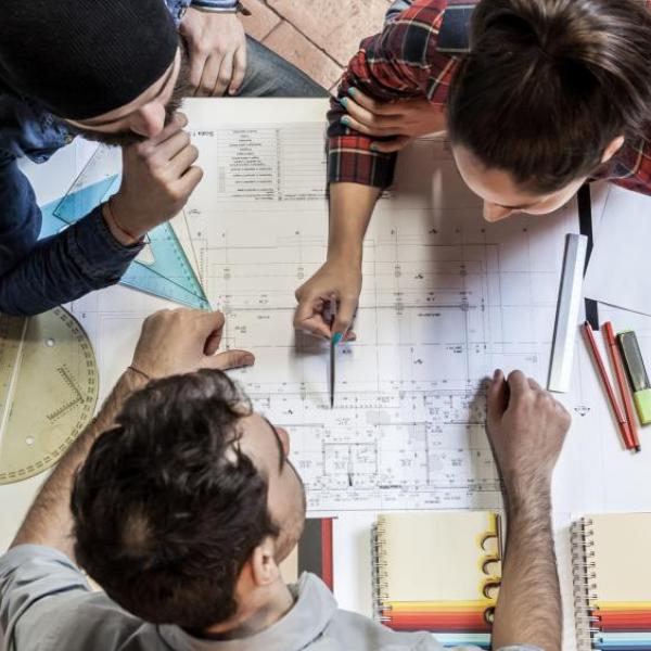 People working on a design