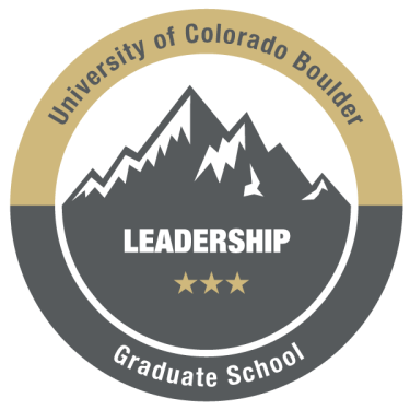 Graphic of leadership badge showing mountains and CU Boulder branding