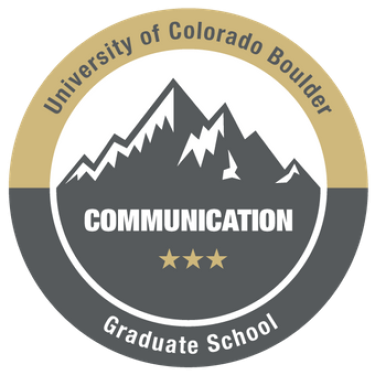Graphic of communication badge showing mountains and CU branding