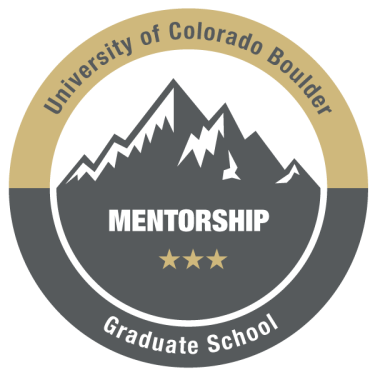 Graphic of mentorship badge showing mountains and CU Boulder branding