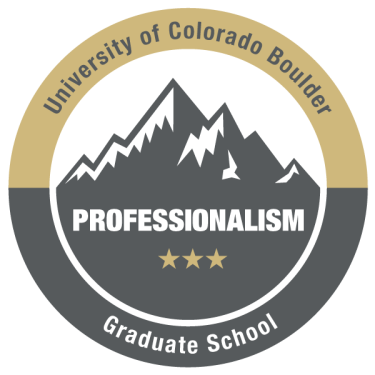 Graphic of the Graduate School Professionalism Badge showing mountains and CU Boulder branding