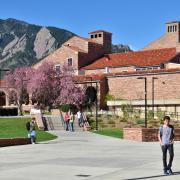 CU Boulder campus spring
