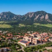 Photo aerial shot of CU Boulder campus