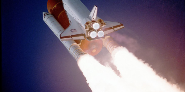 Shuttle launches into space