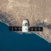 Satellite hovering above the Earth