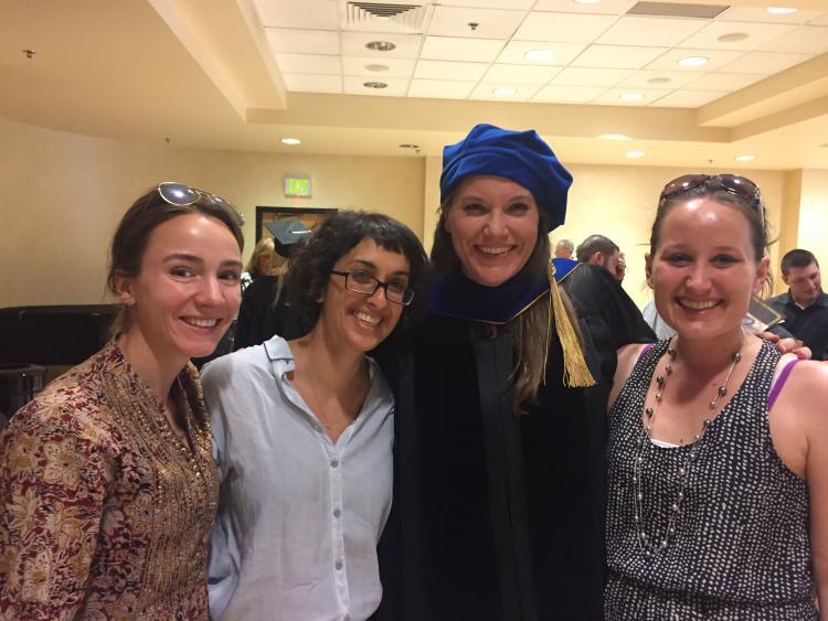 PhD graduate Robin Cadow with German PhD students