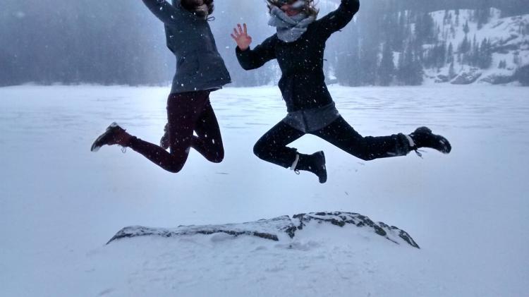 TAs jumping in snow