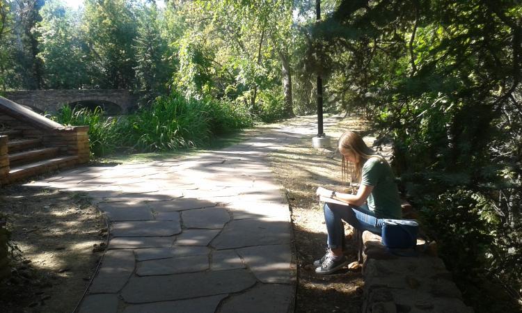 graduate student studying next to Varsity pond.