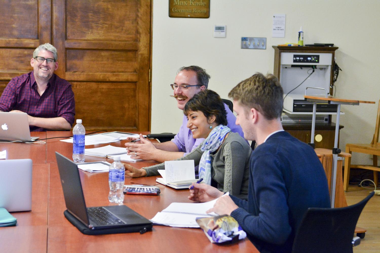 Arne Höcker teaching a graduate seminar in the Max Kade German room.