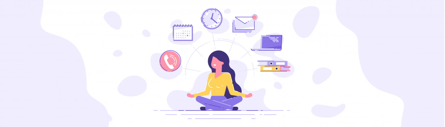 Illustration of a woman in the lotus pose with different icons floating above her.