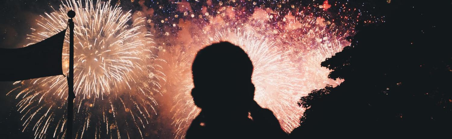 Silhouette of a man standing in front of a firework display.