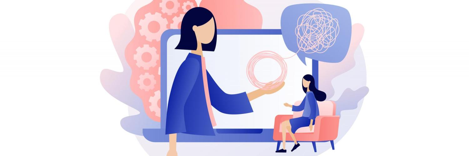 Illustration of a woman sitting in a chair while a counselor appears on an over-sized computer screen.
