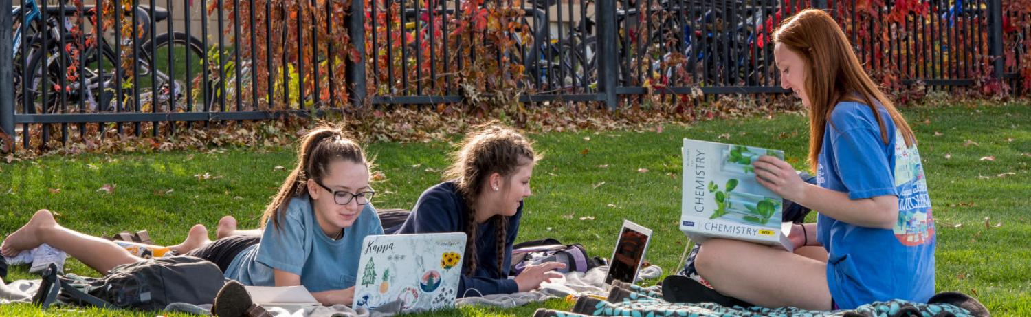 Three students sitting on blankets at Farrand Field with laptops and textbooks to study.