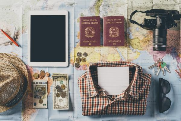 Layout of passport, travel items