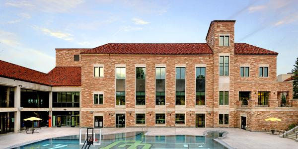 Photo of the exterior of the Main Student Rec Center from the Buff Pool side.