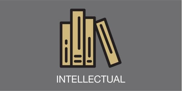 """stack of books and the word """"intellectual"""""""