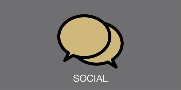 """talk bubble with the word """"social"""""""