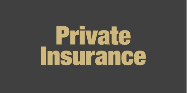 Private insurance in gold on black text