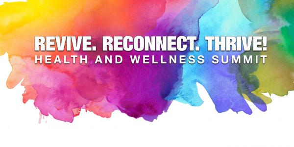 """""""Revive. Reconnect. Thrive!"""" on a colorful background"""