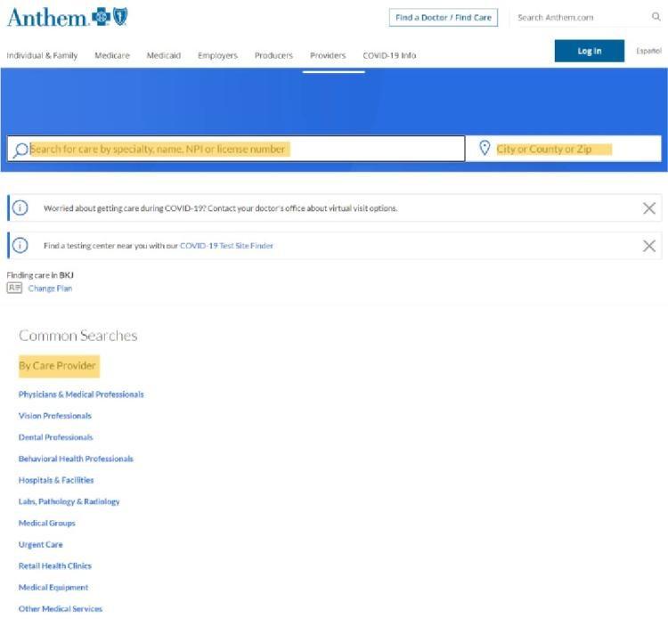 common searches menu