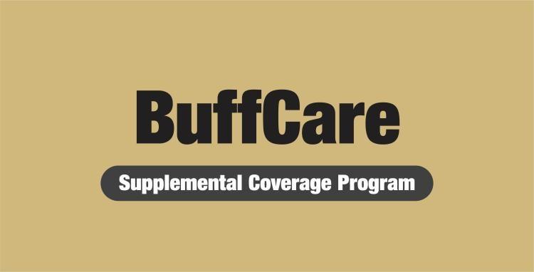 """buffcare supplemental program"" written against a gold background"