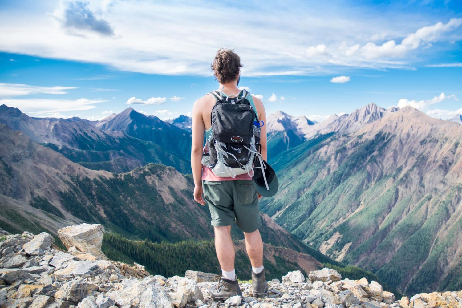 Guy looking out over the mountains