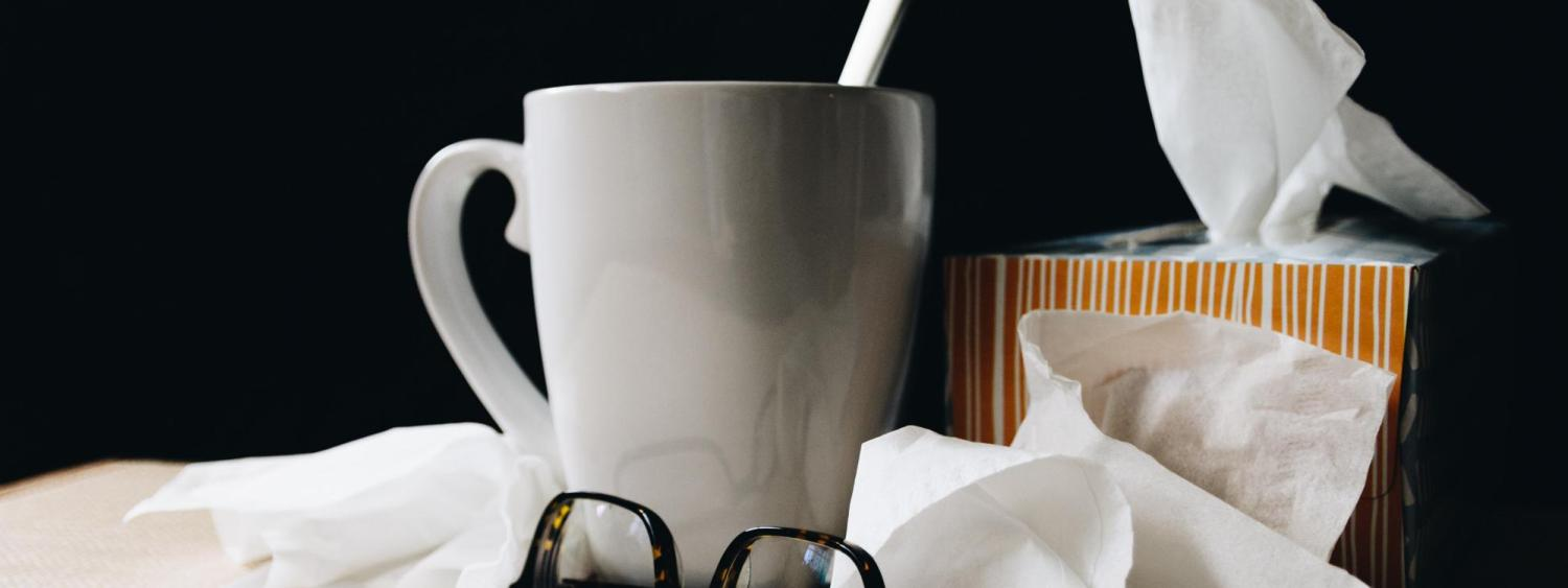mug, tissues, glasses
