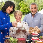 Hosts of the great british baking show: Noel Fielding, Sandi Toksvig, Paul Hollywood, Prue Leith