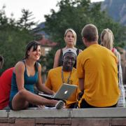 Students hanging out at Farrand Field