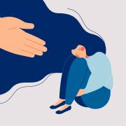 Illustration of a girl sitting in a sad pose with a hand reaching out to her