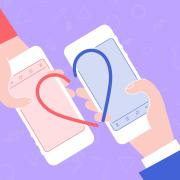 Cartoon of two people on their phones making a virtual heart