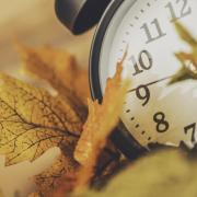 Clock with fall leaves