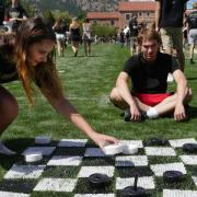 Students playing lawn games