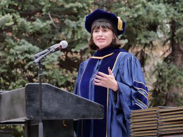 Professor speaking at graduation