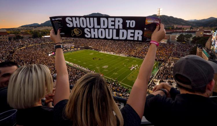Buffs fans stand Shoulder to Shoulder at Homecoming!