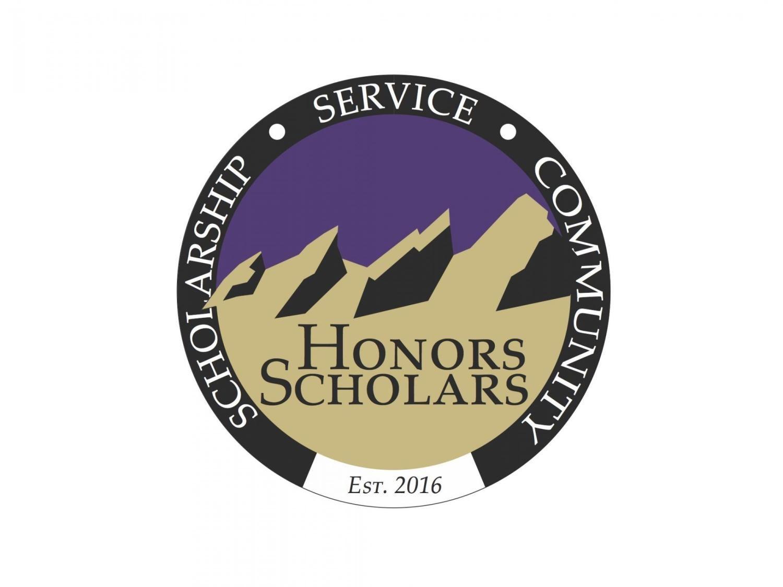 "Honors Scholars seal stating ""Scholarship, Service, Community, established 2016"""
