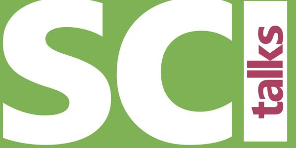 SciTalks logo, white and red letters with green background