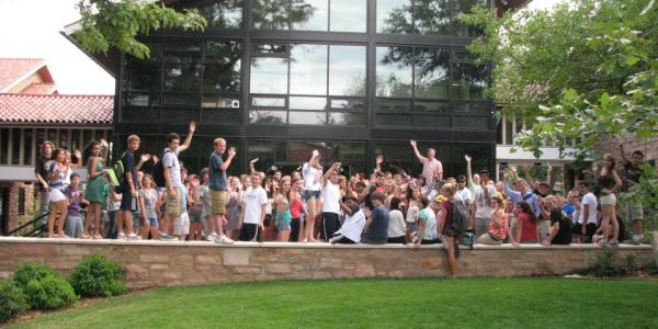 Residents of the Honors RAP outside Smith Hall.