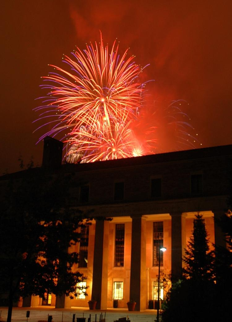 Folsom Field fireworks seen from Norlin Library.