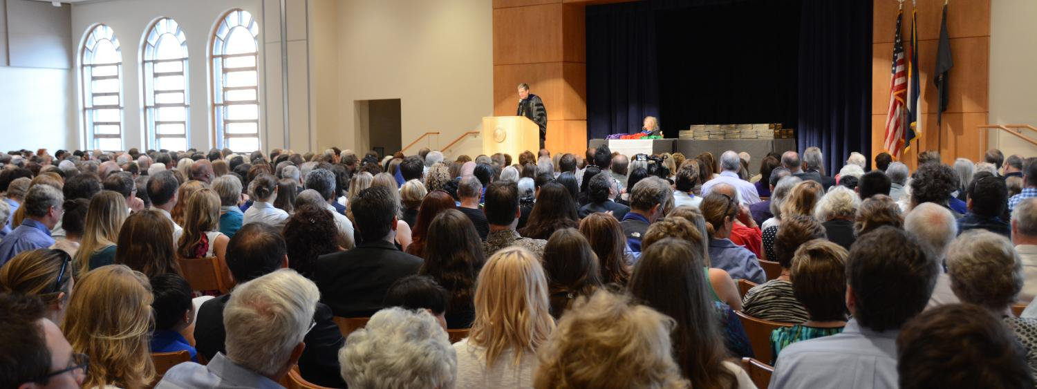The audience and stage at the Honors Convocation.