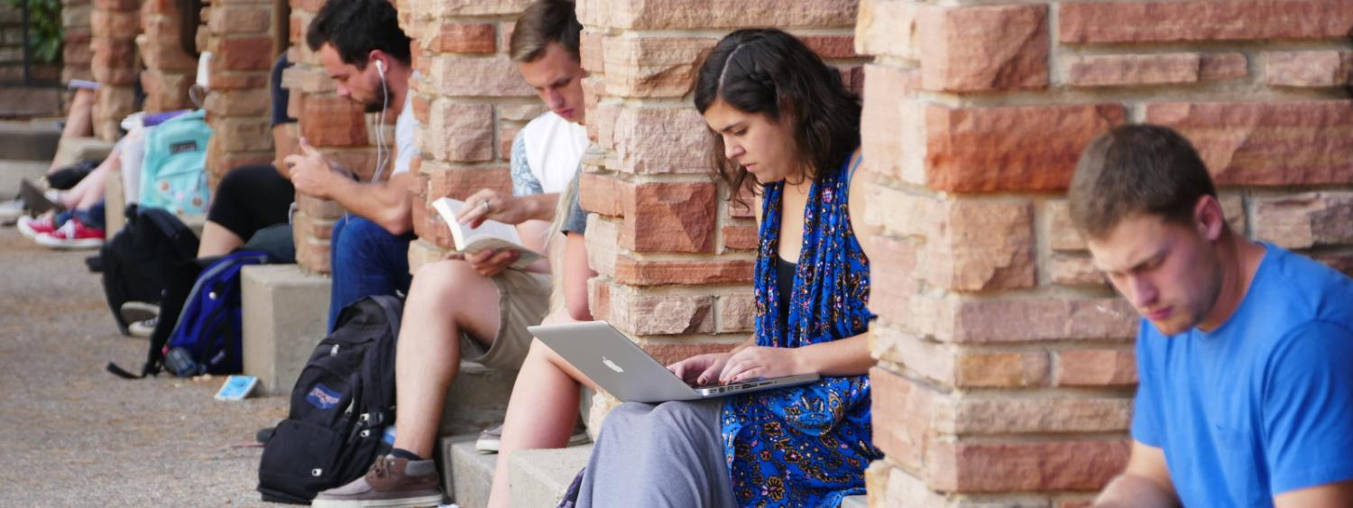 Students studying outside the University Memorial Center