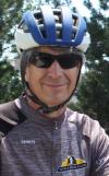Paul Beale wearing Buffalo Bicycle Classic uniform and bicycle helmet